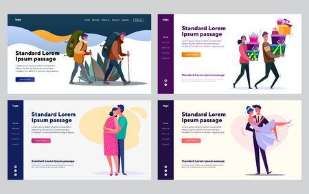 Young couple life set. Man and woman hiking, getting married, pregnant, celebrating events. Flat vector illustrations. Love, relationship, family concept for banner, website design or landing web page