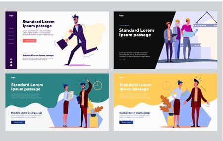 Failed and successful workers set. Running manager late, employees conflict, happy building group. Flat vector illustrations. Job, work, deadline concept for banner, website design or landing web page