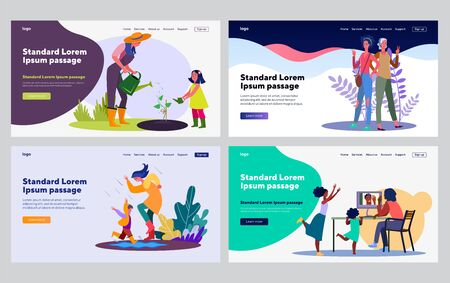 Mothers and children spending time together set. Mom and kid gardening, walking in rain, having fun. Flat vector illustrations. Leisure, family concept for banner, website design or landing web page