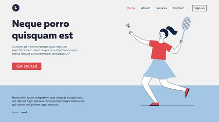 Young woman playing badminton. Cartoon character holding racket and throwing shuttlecock flat vector illustration. Sport, activity, lifestyle concept for banner, website design or landing web page Illustration