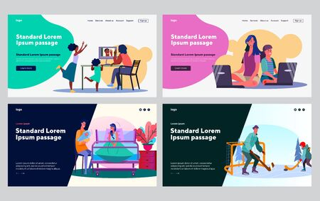 Set of parents and kids practicing activities together. Video chat, yoga training, sport game. Flat vector illustrations. Leisure, family concept for banner, website design or landing web page  イラスト・ベクター素材