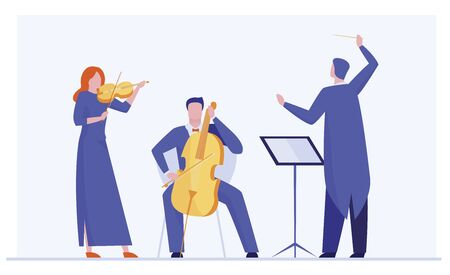 Orchestra playing classical symphony. Conductor, musicians with violin, alto flat vector illustration. Music, concert, philharmonic theater concept for banner, website design or landing web page