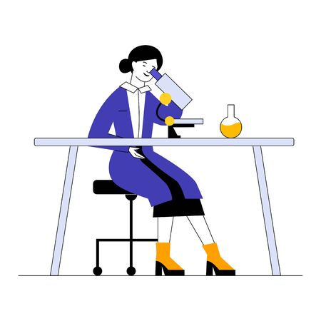 Assistant doing lab research. Woman in white coat using microscope at table with flask flat vector illustration. Laboratory, biochemistry concept for banner, website design or landing web page