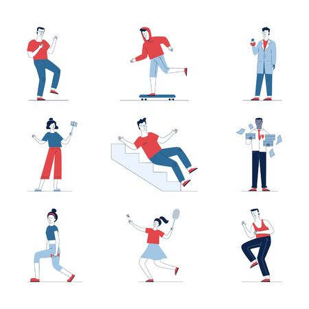 Stylish collection of different cartoon people. Flat vector illustrations of man and woman skating, holding, playing. Activity and lifestyle concept for banner, website design or landing web page Ilustracje wektorowe
