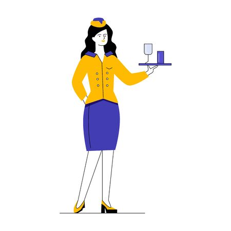 Stewardess offering water. Woman in uniform carrying glasses on tray flat vector illustration. Airlines, occupation, flight concept for banner, website design or landing web page Vettoriali