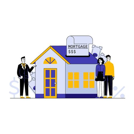 Couple buying home property with bank credit vector illustration. Broker offering house to young people for rent. Mortgage loan and investing money concept.