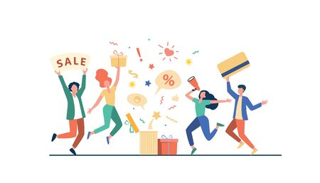 Customers celebrating sale. People holding gift, credit card, loudspeaker, dancing, having fun. Vector illustration for loyalty program, promotion, customer reward concept Ilustrace