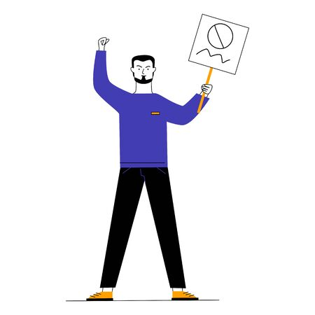 Man showing placard. Protest activist holding poster and making threaten gesture flat vector illustration. Resistance, riot, fight concept for banner, website design or landing web page Ilustrace