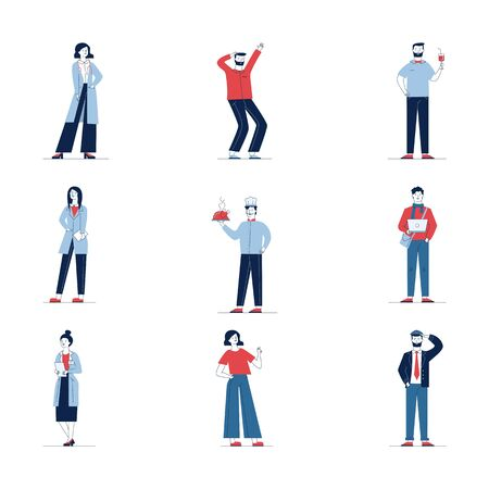 Colorful set of diverse cartoon people. Flat vector illustrations of man and woman standing, saluting, waving. Activity and lifestyle concept for banner, website design or landing web page