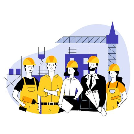 Engineering and construction workers standing together vector illustration. Construction team holding tools and site plans. Architects and builders standing in safety helmets at construction site.