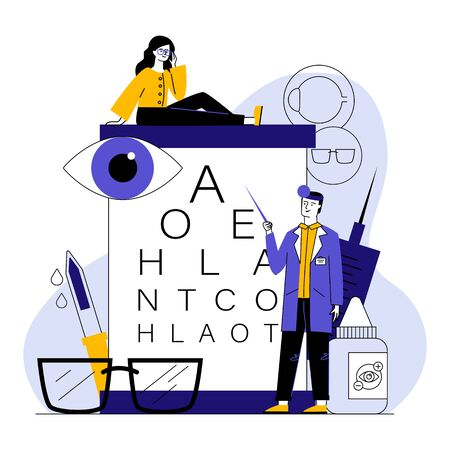 Male ophthalmologist checking woman eyesight. Female patient in glasses sitting on eye chart flat vector illustration. Vison test, ophthalmology concept for banner, website design or landing web page