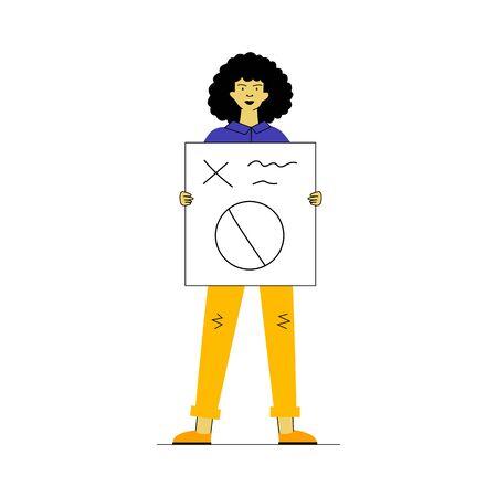Woman showing placard. Female protest activist holding poster flat vector illustration. Crisis, activism, demonstration concept for banner, website design or landing web page