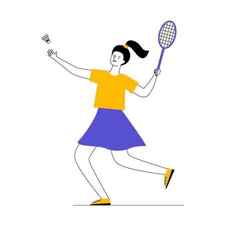 Young woman playing badminton. Cartoon character holding racket and throwing shuttlecock flat vector illustration. Sport, activity, lifestyle concept for banner, website design or landing web page  イラスト・ベクター素材