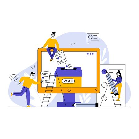 Internet or electronic voting. Man and woman filling up forms and throwing into ballot box flat vector illustration. Election campaign concept for banner, website design or landing web page  イラスト・ベクター素材