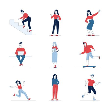 Colorful collection of diverse cartoon people. Flat vector illustrations of man and woman stumbling, running, skating. Activity and lifestyle concept for banner, website design or landing web page Ilustracja