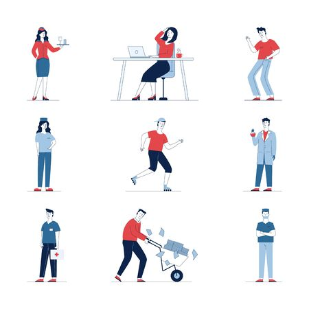 Large set of diverse cartoon people. Flat vector illustrations of man and woman standing, waving, sitting. Everyday activity and lifestyle concept for banner, website design or landing web page