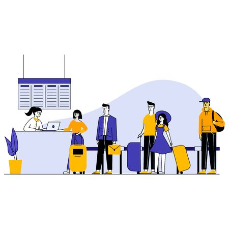 Travelers in airport waiting in queue for check vector illustration. People standing in airport departure area. Gate agent checking people before boarding. Airline transportation service.
