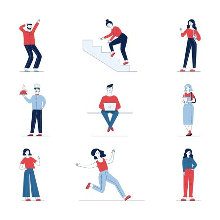 Collection of diverse cartoon people. Flat vector illustrations of man and woman stumbling, sitting, standing. Everyday activity and lifestyle concept for banner, website design or landing web page