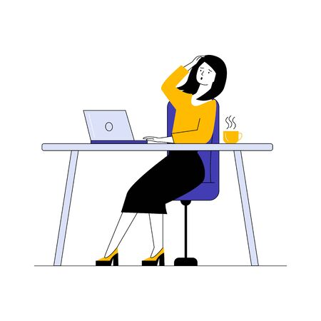 Shocked woman using laptop. Female employee looking at screen and holding head flat vector illustration. Communication, bad news concept for banner, website design or landing web page