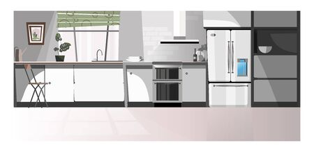 Modern kitchen room with appliances illustration. Gray domestic kitchen area with counter, fridge, oven and window. Interior illustration