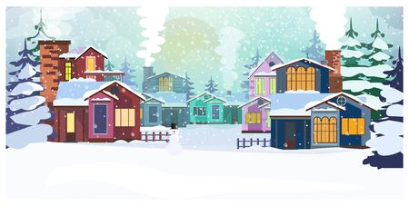 Country scene with cottages and fir-trees illustration. Winter day and snowfall. Country scene concept. For websites, wallpapers, posters or banners. 写真素材