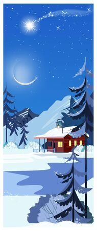 Winter landscape with cottage, shooting star and fir-trees. Night snowy country scene illustration. Winter concept. For websites, posters or banners.