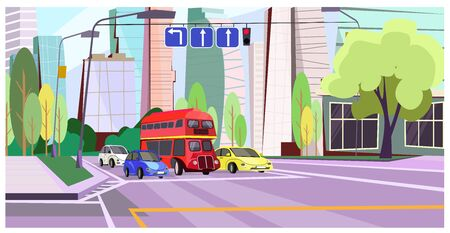 Double-decker bus and cars at red light illustration. Modern transports at crossroads in big city. City life illustration 写真素材