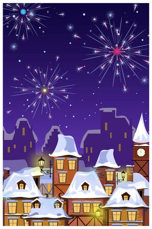 Winter townscape with houses roofs and fireworks in night sky. Night town scene illustration. New Year Eve concept. For websites, wallpapers, posters or banners.