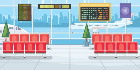 Airport with flight departure boards illustration. Modern airport waiting room with rows of chairs and panoramic windows. Interior illustration Stok Fotoğraf