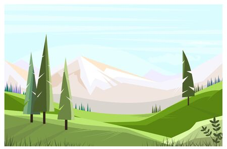 Green fields with tall trees illustration. Mountain range in background. Nature illustration 写真素材