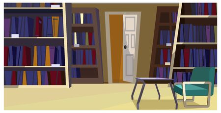 Home library with bookcases illustration. Modern room with comfortable chair and glassy table. Apartment illustration