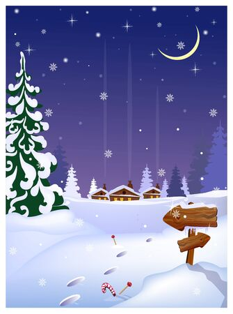 Night country scene with distant houses, wooden arrows sign and fir-tree. Winter night illustration. Christmas Eve concept. For websites, posters or banners.