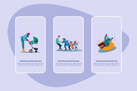 Winter vacation for kids set. Parents, children making snowman, skiing, skating, suburb street with houses. Flat vector illustrations. Family concept for banner, website design or landing web page
