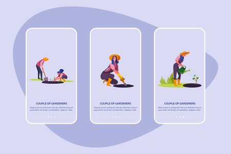 Couple of gardeners set. Man and woman growing plants, gathering harvest, suburb house . Flat vector illustrations. Country, lifestyle concept for banner, website design or landing web page