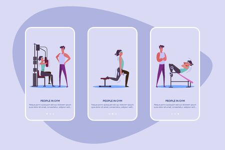 People in gym set. Woman training body with instructor, weight and equipment. Flat vector illustrations. Exercise, sport concept for banner, website design or landing web page