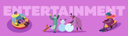 Christmas winter park set. Parents, children walking, making snowman, sleighing. Flat vector illustrations. New Year, leisure, outdoor activity concept for banner, website design or landing web page