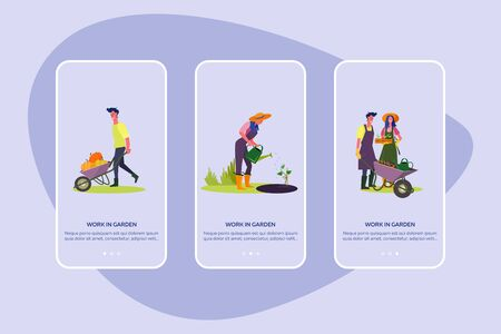 Work in garden set. Couples planting seedlings, gathering harvest, country house facade . Flat vector illustrations. Farming, outdoor activity concept for banner, website design or landing web page