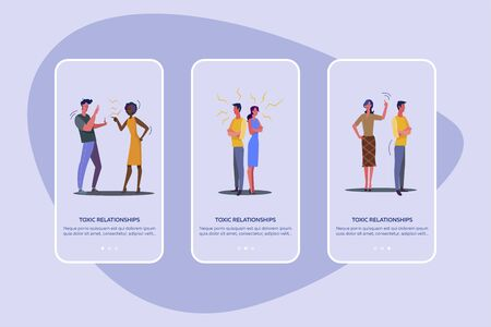 Toxic relationships set. Quarreling couples, arguing friends, night city view. Flat vector illustrations. Conflict, argument concept for banner, website design or landing web page Illusztráció