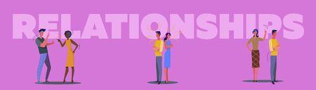 Toxic relationships set. Quarreling couples, arguing friends, night city view. Flat vector illustrations. Conflict, argument concept for banner, website design or landing web page Illustration