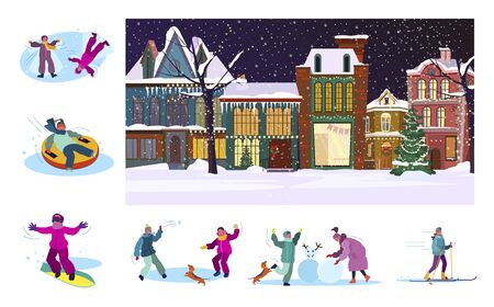 Set of citizens playing at winter. Flat illustrations of people snowboarding, playing snowballs, making snowman. Winter holidays concept for banner, website design or landing web page