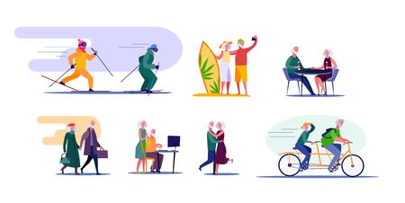 Active senior couple travelling and doing sports. Retired cartoon husband and wife enjoying common interests. illustration for advertising, poster, brochure