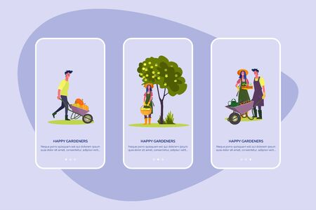 Happy gardeners set. Man and woman planting, gathering harvest, picking apples, fall landscape . Flat vector illustrations. Autumn, gardening concept for banner, website design or landing web page