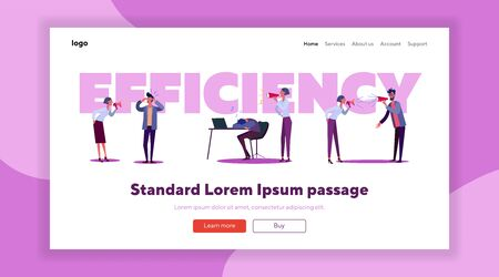 Employees efficiency set. Lazy worker late for work, sleeping at workplace, meeting room. Flat vector illustrations. Useless manager, failure concept for banner, website design or landing web page