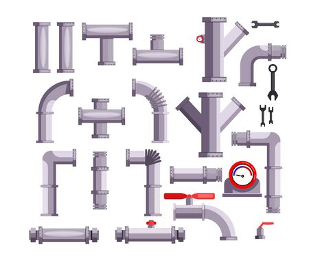 Set of tubes and pipes. Hand tool, ball valve, gauge, wrenches. Can be used for topics like gas industry, water supply, repair