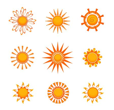 Bright sun set. Summer weather collection. Can be used for topics like climate, vacation, solar energy