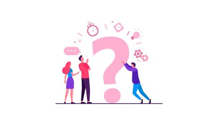 People searching solutions and asking for help. Men and women discussing huge question mark. Vector illustration for communication, assistance, consulting concept Vector Illustration