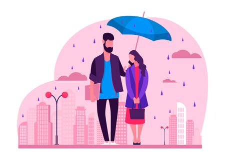Young couple in rain illustration. Man and woman in raincoats standing under umbrella on urban street. Autumn rain image for weather, season, climate concept
