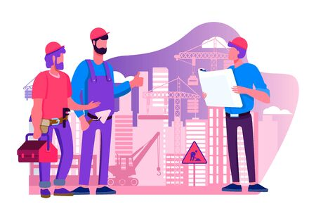 Engineers team discussing issues at construction site flat illustration. Foreman looking at construction project plan. Building and engineering concept. Machinery and crane on background