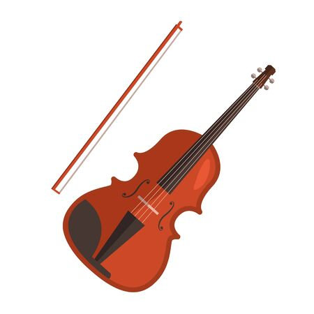 Violin flat icon. Fiddle, classical music, symphony orchestra. Musical instruments concept. illustration can be used for topics like music, leisure, art Stock Photo