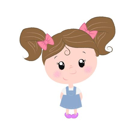 Cute little girl in blue dress with red bows. Childhood concept. illustration can be used for topics like kindergarten, primary school, child care
